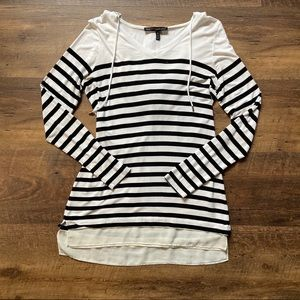 WHBM Striped Hooded Long Sleeve Shirt, Medium